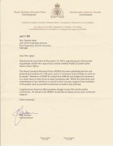 Commissioner Bob Paulson's letter